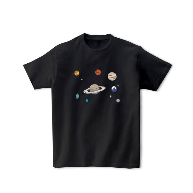 【即納】宇宙Tシャツ-太陽系(黒)