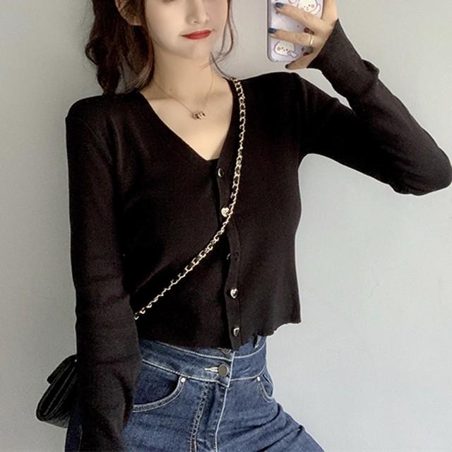 【tops】上品可愛いvネックニットセーター