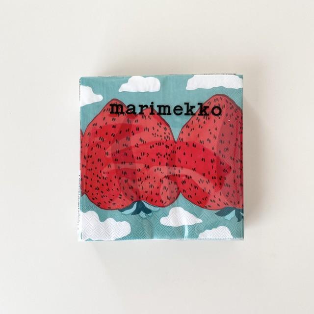 2021春夏【marimekko】カクテルサイズ ペーパーナプキン MANSIKKAVUORET  ターコイズ 20枚入り