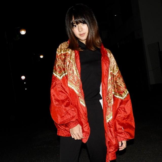 red nylon jacket 90s