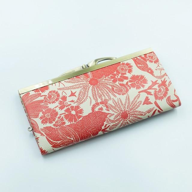 【秀和 x pink india】北欧デザイン 牛革がま口復刻長財布 | paradise orange