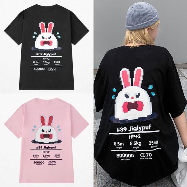 ユニセックス Tシャツ 半袖 メンズ レディース ラウンドネック ドット絵 うさぎ ラビット プリント オーバーサイズ 大きいサイズ ルーズ ストリート TBN-623060809662