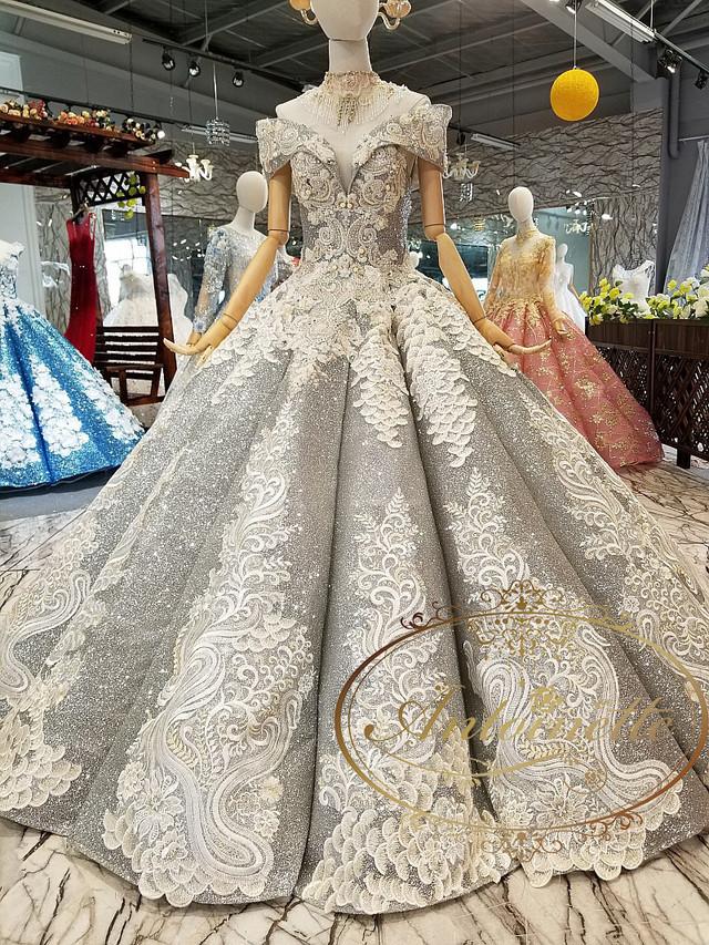 ladies wedding dress white long A-line happy ceremony 海外 ウエディングドレス ホワイト Aライン ゴージャス レディース 綺麗め ロングドレス 格安 激安