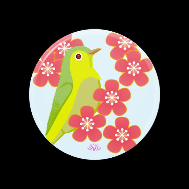 TSUBASA作「梅と鶯」・缶ミラー・送料、税込み