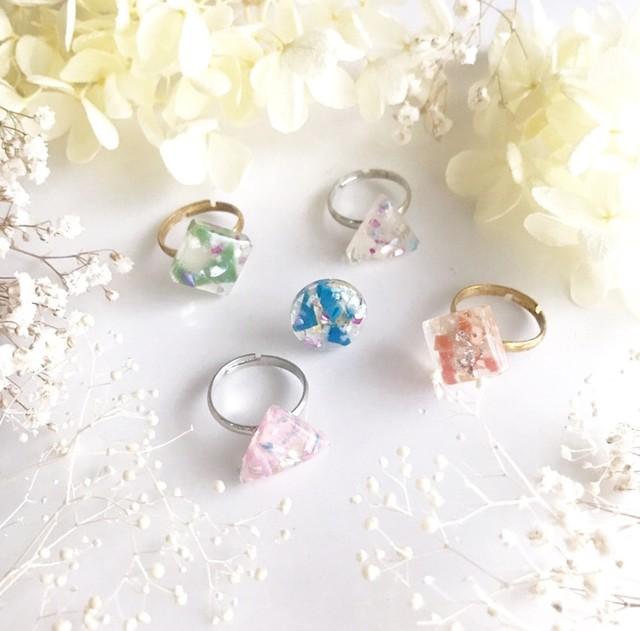 【しかく指輪】海洋マイクロプラスチックを素材にした一点物デザインアクセサリー/ゆびわ(全7色)