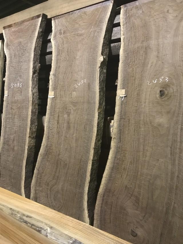 オレゴンブラックウォールナット 全面縮杢 一枚板 2550×850×70