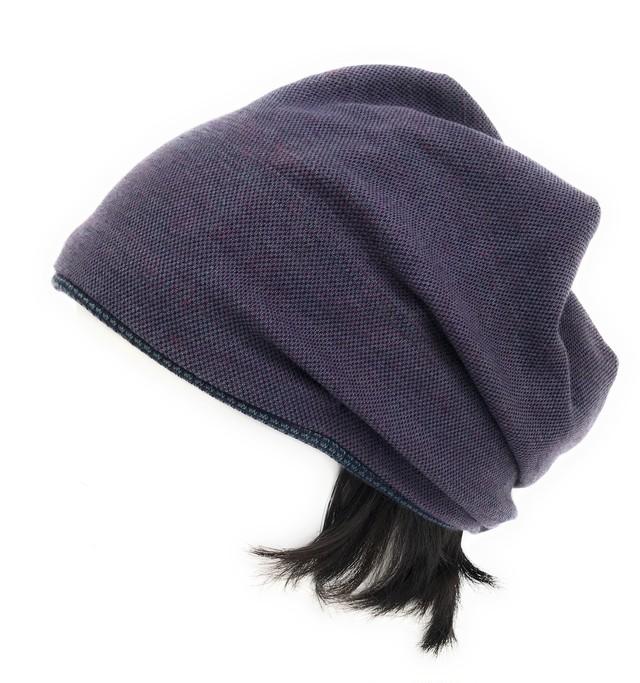 "Ladies 定番ニット帽子"" 大人用 つけ毛付き:wig/ミディアムロング/ フリー M~L"