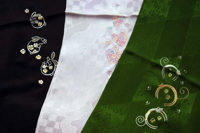 帯揚げ 片側刺繍
