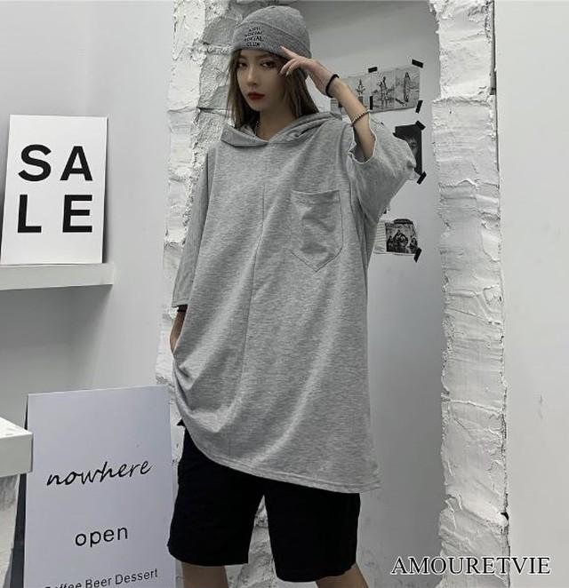 Tシャツ カットソー ロング フード付き グレー 黒 ブラック 半袖 カジュアル ストリート チュニック ピープス オルチャン 韓国ファッション 1605