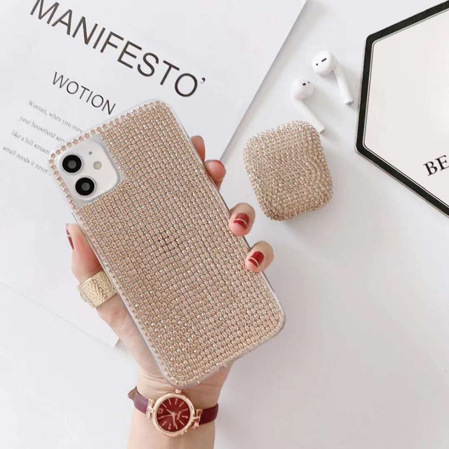 【セット販売】Luxury glitter iphone case & airpods 1/2 Pro case