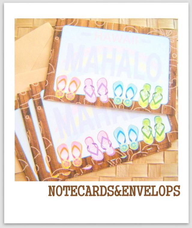 mahalo メッセージ カード:ビーチサンダル