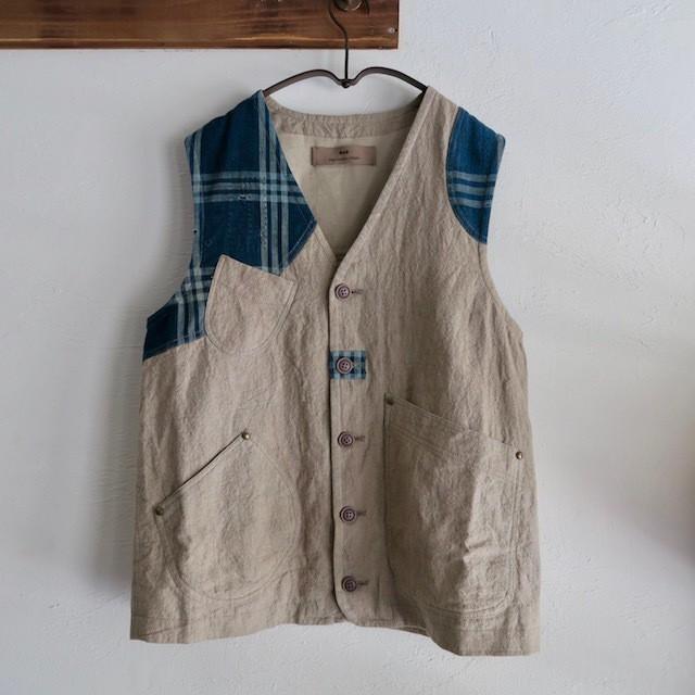 藍染BORO × Linen Vest(Beige)