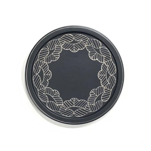 【ご予約商品】マットブラック松絵  二段重(蓋)