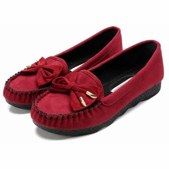 レディース リボンモカシン フラットシューズ ローファー ぺたんこ RED(レッド) / Women's soft bottom spring and autumn flat shoes (DCT-563649786703-red)