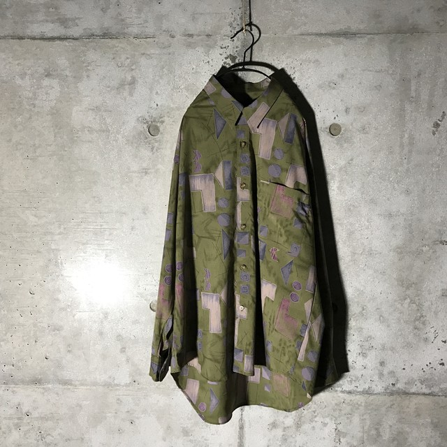 [used] dark green designed shirt