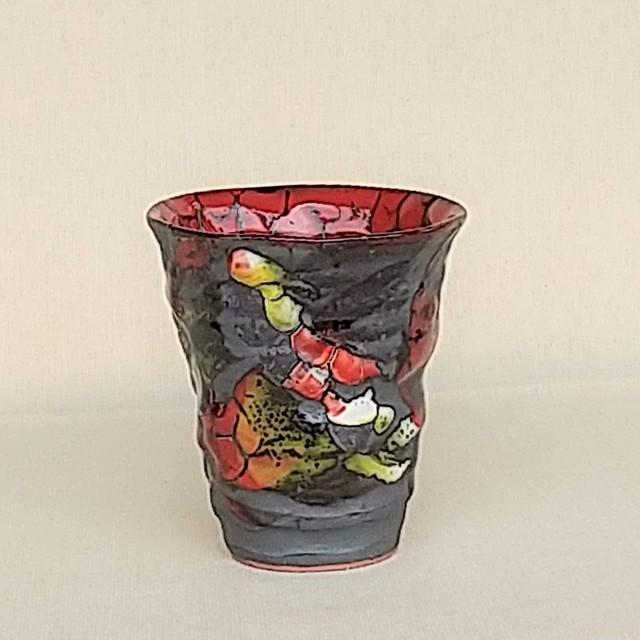 桜窯 斑 赤 焼酎カップ