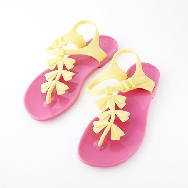 Zhoelala(シューララ)サンダル♡黄色リボン×ピンク
