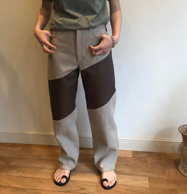 FUMIKAUCHIDA  [RAFFIA×CANVAS WIDE TAPERED PANTS]