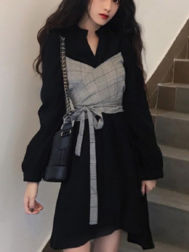 【dress】Temperament plaid stitching dress