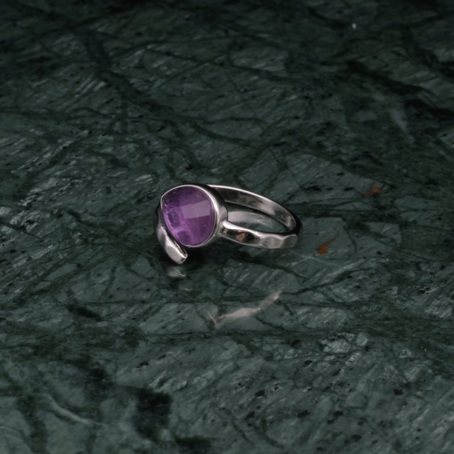 SINGLE STONE OPEN RING SILVER 001