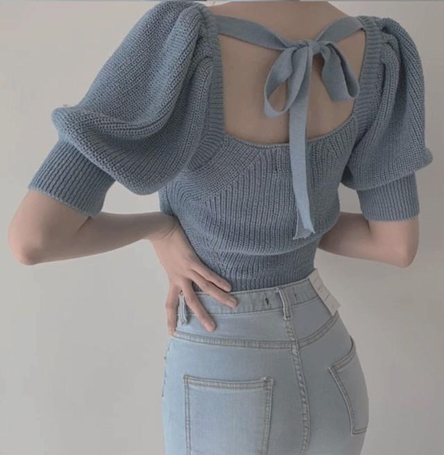 back ribbon summer knit