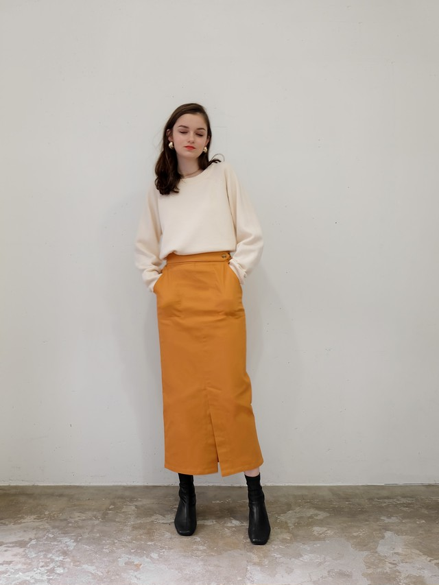 stretch twill narrow skirt(orange)