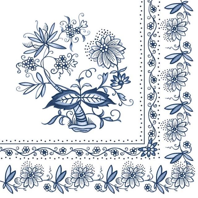 新入荷【Ambiente】バラ売り2枚 ランチサイズ ペーパーナプキン Blue Onion ブルー
