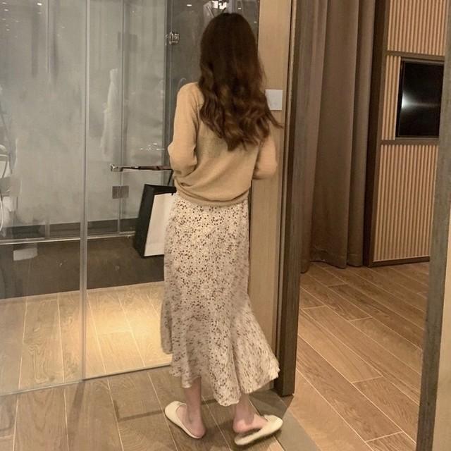 【韓国レディースファッション】 6468 大人可愛い 花柄 マーメイド スカート 送料無料