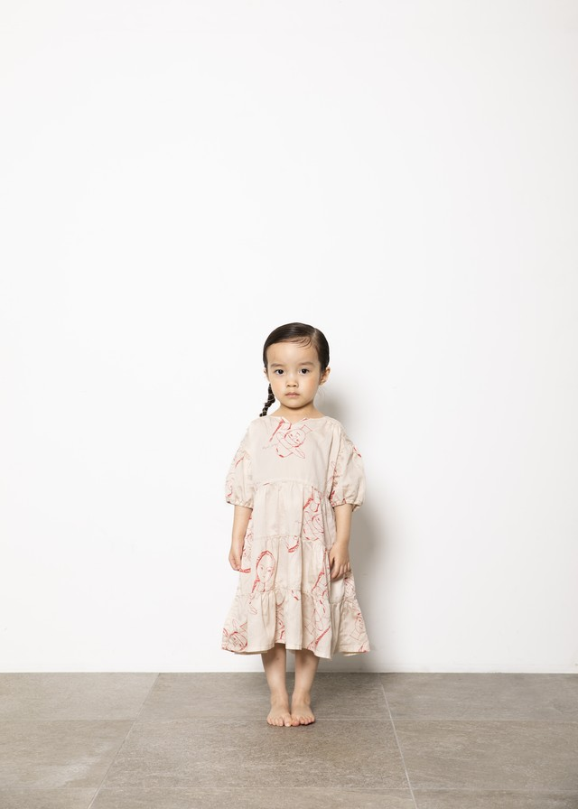 【21SS】folkmade(フォークメイド) face print dress ワンピース beige(S/M/L)