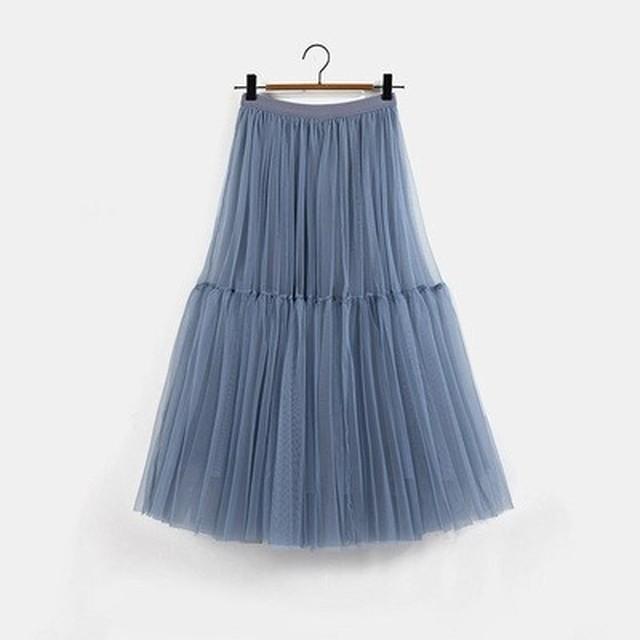 【スカート】チュールスカート・ブルー