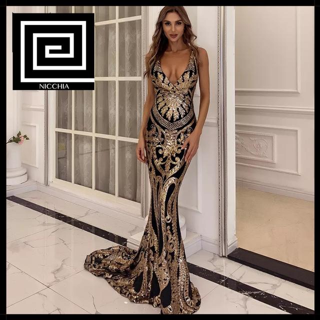 ブラック&ゴールドスパンコールロングドレス