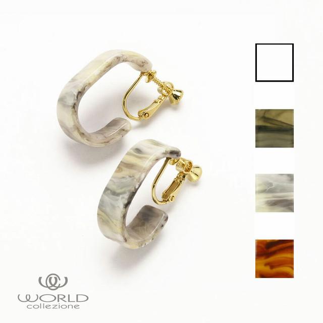 【worcolle】クリア&マーブルの楕円デザインイヤリング(No.132597-98-99-600)