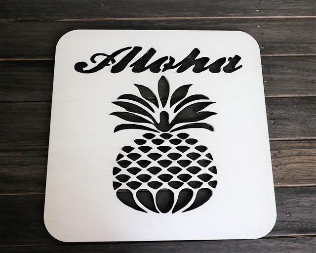 sale★Aloha~パイナップル ウォールアート(Sサイズ)インテリアパネル ウォールパネル ハワイアン雑貨