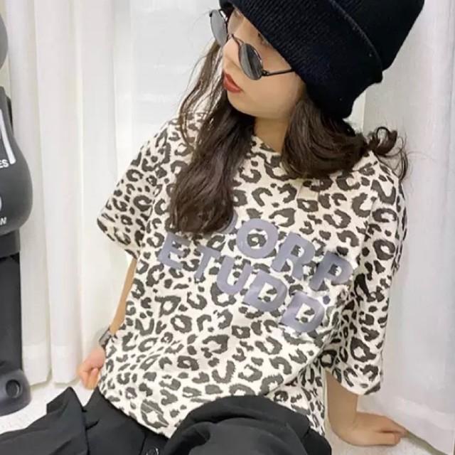 110~160cm★ Tシャツ 半袖 ヒョウ柄 レオパード カジュアル