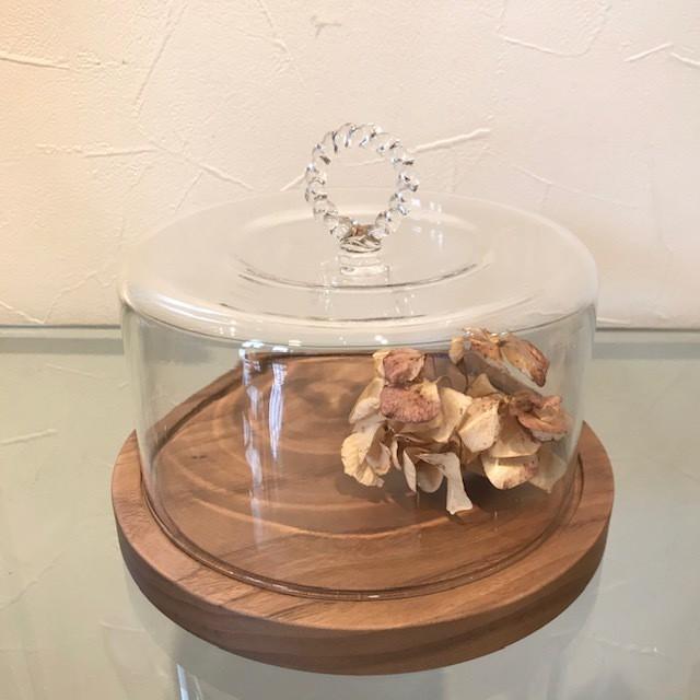 チーズドーム ネジリ M ウォールナット ガラスドーム