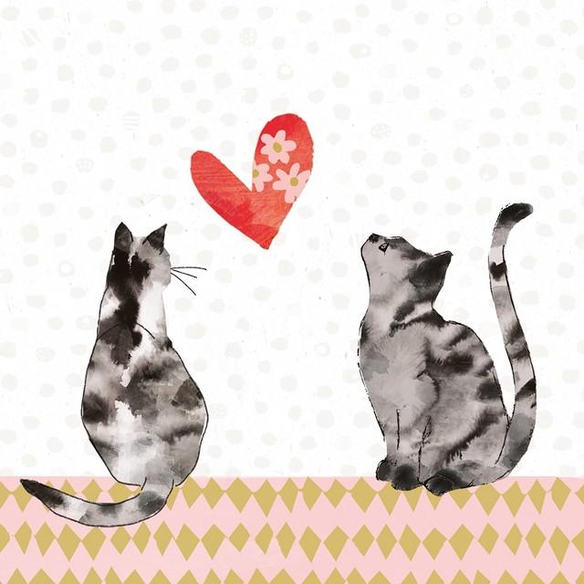 【Paperproducts Design】バラ売り2枚 ランチサイズ ペーパーナプキン CATS IN LOVE ホワイト
