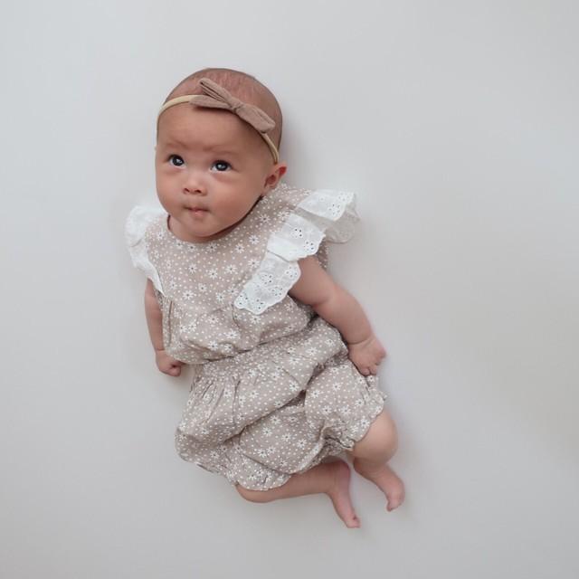 【即納】デイジー柄ロンパース セットアップ ノースリーブ 韓国子供服