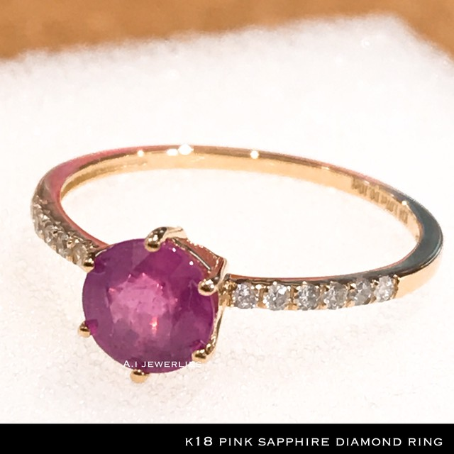 k18 リング 18金 天然石 ピンク サファイア リング 天然石 ダイアモンド 付き / k18 pink sapphire ring with diamonds