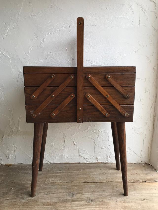 木製 ソーイングボックス BROWN