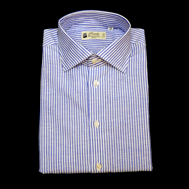 Camiceria Piccirillo コットンリネン L/S ドレスシャツ 各サイズ - Blue stripe