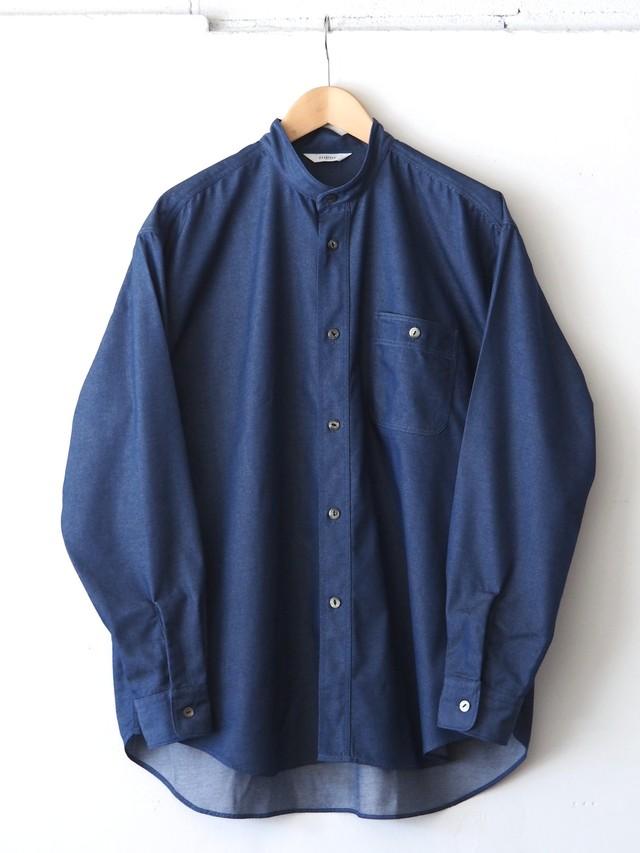 FUJITO B/S Stand Collar Shirt Indigo,Gray,White