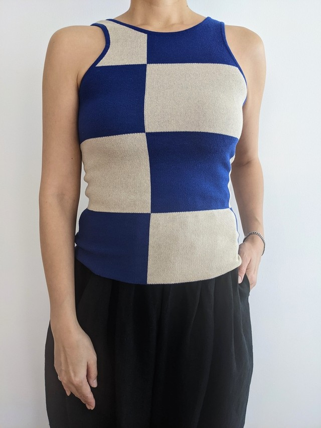 Checkered Knit Tank - Blue