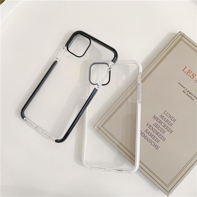 ブラック×ホワイト シンプルクリアiPhoneケース*p00009^