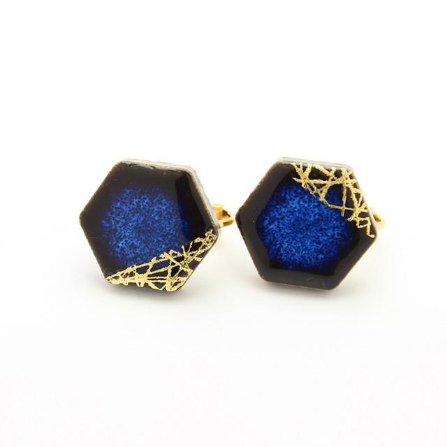 伝統工芸品 美濃焼 六角形 木漏れ日のイヤリング&ピアス 藍色