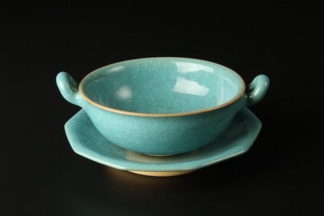 氷裂青磁皿付スープ 清水焼