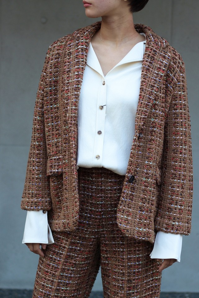 【COOHEM】BLAZER TWEED JACKET-camel
