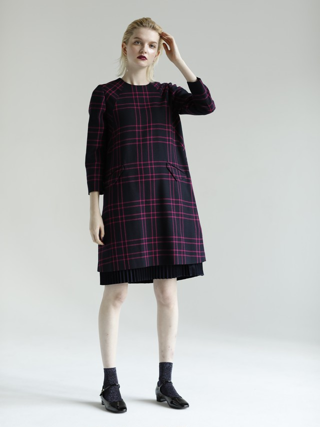 TIDY-CHECK PLEATS HEM DRESS