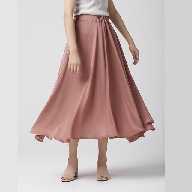 WOMEN スカート ロングスカート フレアスカート サテン くすみピンク
