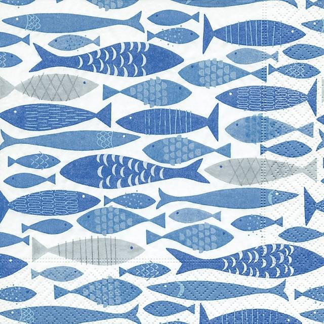 【Paper+Design】バラ売り2枚 ランチサイズ ペーパーナプキン SHOAL OF FISH ブルー
