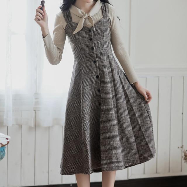 【即納♡】レトロハイウェストロングスカート 7945